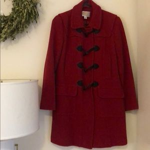 Talbots wool toggle winter parka coat, red, size 4